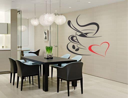 Cafea cu dragoste sticker de perete