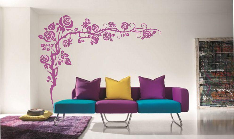 sticker perete colt floral living dormitor birou hol