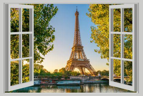 Turnul Eiffel Fereastra 3D Sticker de perete