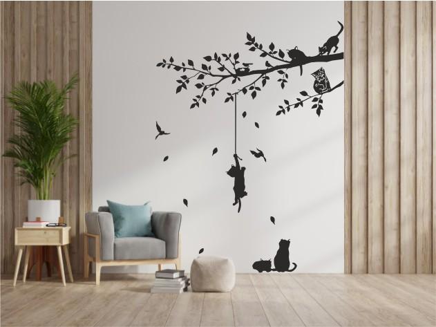 Pisici in copac sticker decorativ