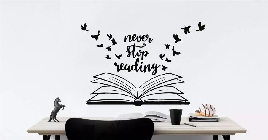 never stop reading sticker decorativ @lipestesidecoreaza
