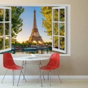 Turnul Eiffel Fereastra 3D Sticker decorativ